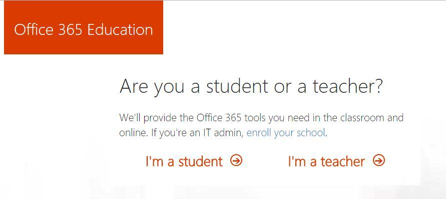 Office 365 - Selecting Teacher or Student as role