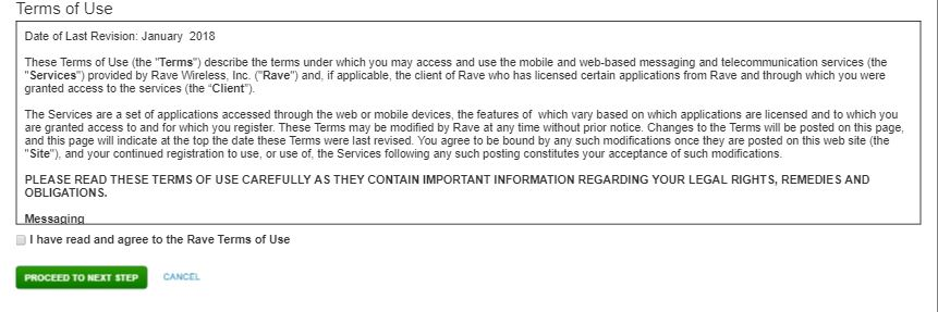 Rave Create Account Page Part 2, asking to accept terms of service