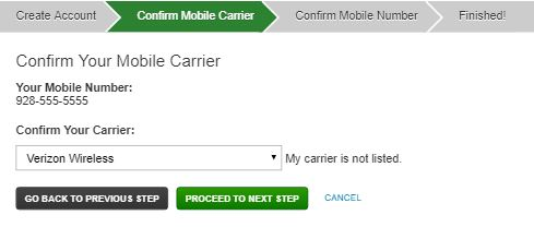 Rave Confirm Mobile Number Page asking to choose carrier