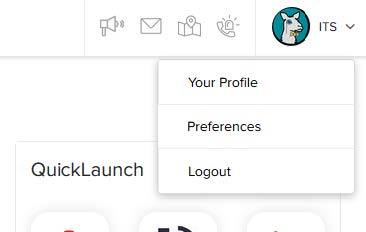 Menu Items include Your Profile, Preferences and Log Out